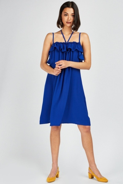 Ruffle Cami Slip On Dress