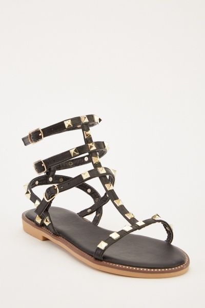 5571858b1 Studded Black Strappy Sandals - Just £5