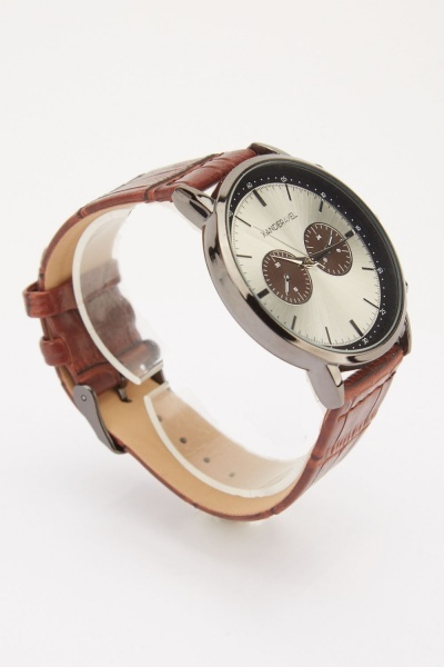 Mens Mock Croc Multi-Dial Watch