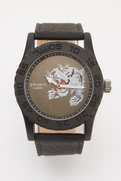 Mens Tiger Face Print Watch