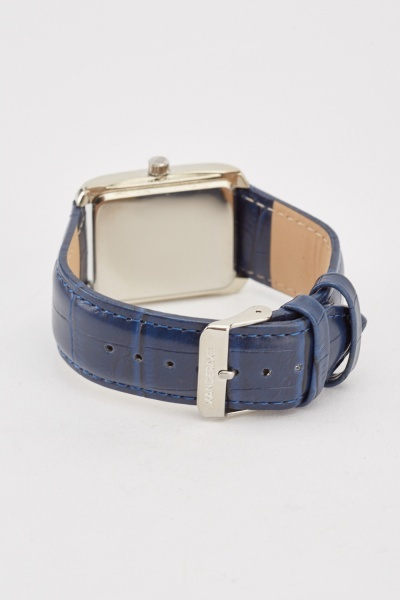 Mock Croc Strap Square Face Watch