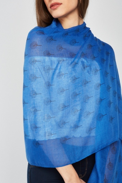 Tree Print Sheer Scarf