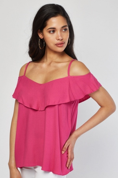 Strappy Hot Pink Flared Top