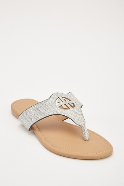 Detailed Front Metallic Flip Flops