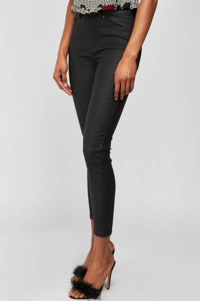 Waxed Style Black Jeggings