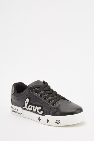 Love Applique Side Low Top Trainers