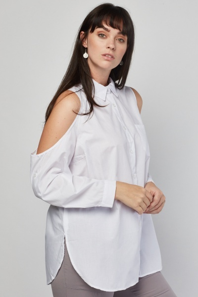 Cold Shoulder White Shirt
