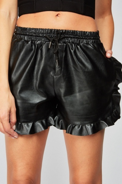 Ruffle Trim Faux Leather Shorts