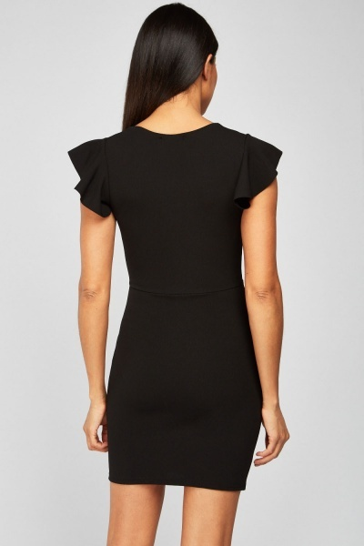 Tie Up Keyhole Bodycon Dress