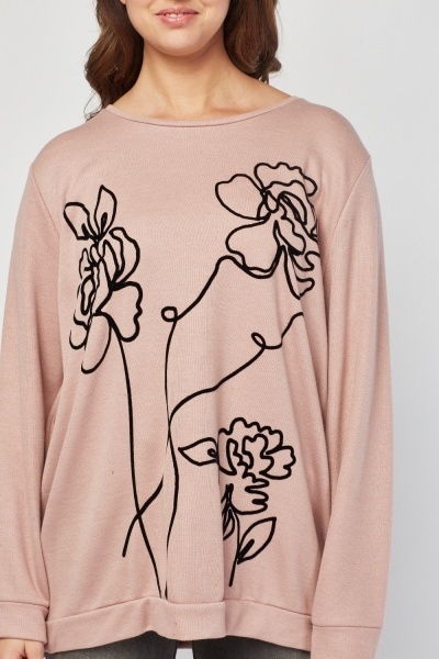 Flower Devore Print Sweatshirt