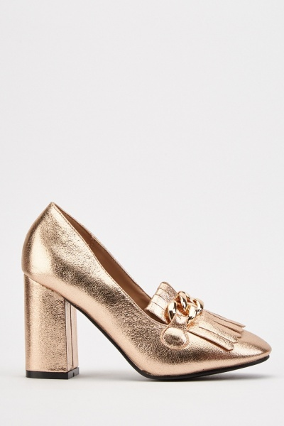 Metallic Chain Detail Heels