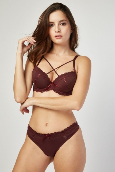 Cross Front Lace Bra And Thong Set