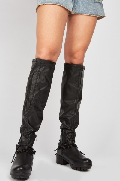 Chain Detail Knee High Boots
