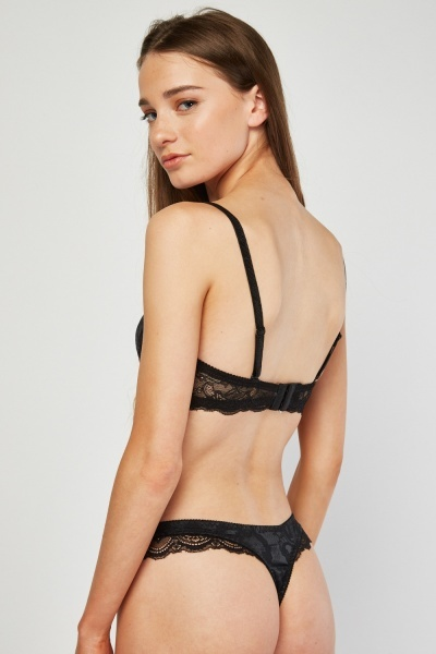 Lace Balconette Bra And Thong Set
