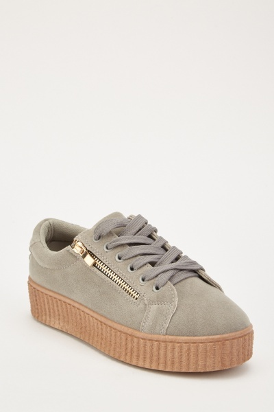 Lace Up Suedette Creepers