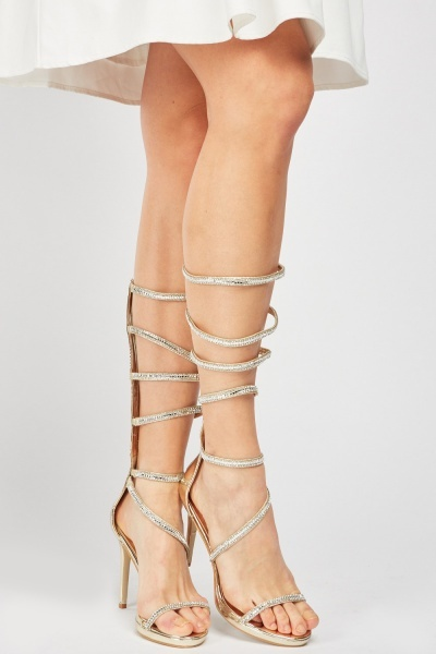Metallic Encrusted Strappy Sandals