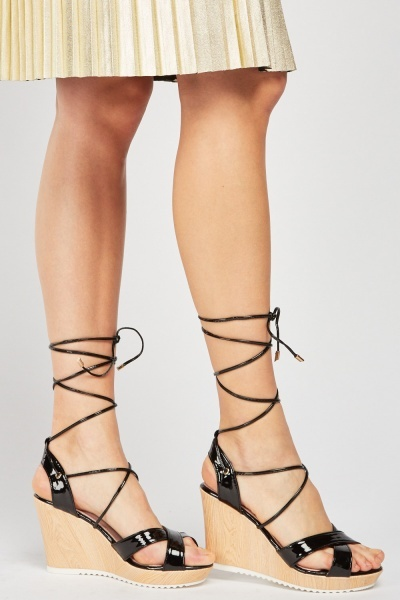 PVC Tie Up Wedge Sandals
