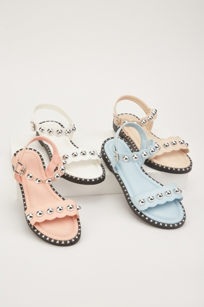 Studded Scallop Trim Sandals