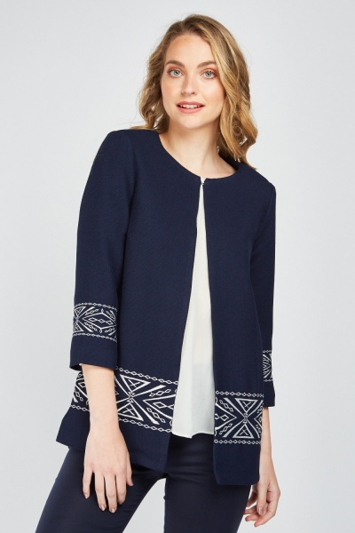 Collarless Embroidered Jacket