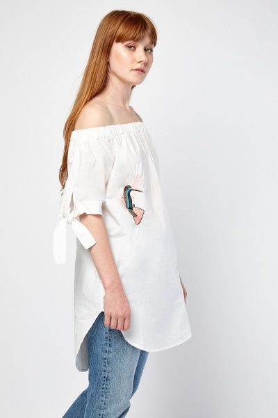 Off Shoulder Embroidered Blouse