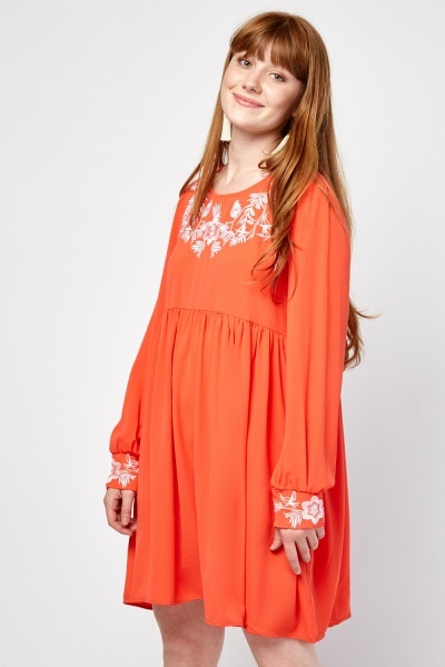 Embroidered Flower Smock Dress