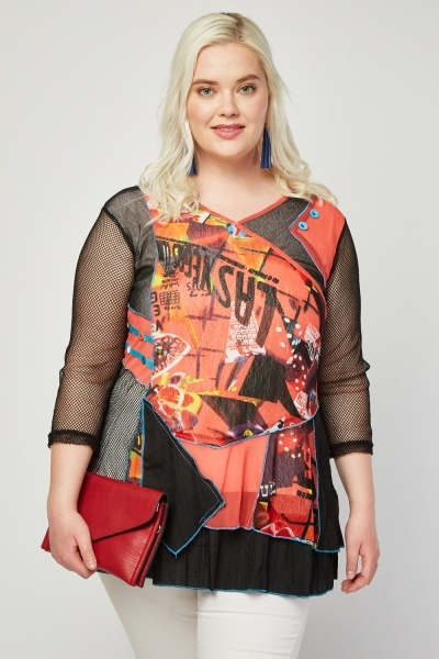 Graphic Printed Mesh Contrast Top