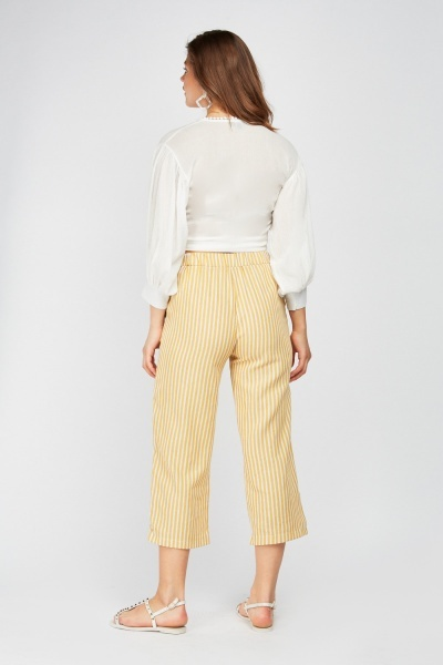 Print Striped Straight Fit Trousers