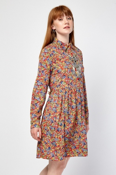 Printed Frilly Shirt Dress
