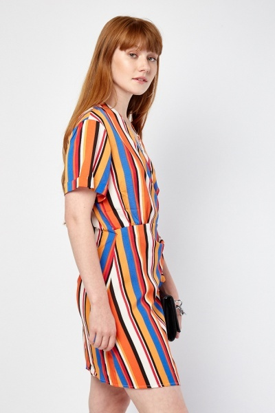 Stripe Print Wrap Tea Dress