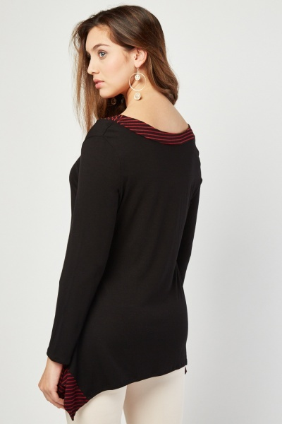 V-Neck Stripe Trim Top