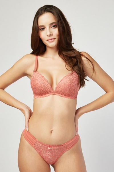 cd3c5871d Flower Lace Bra And Thong Set - 5 Colours - Just £5