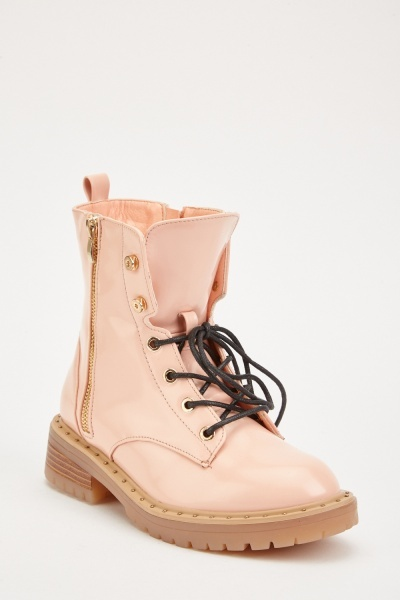 Lace Up PVC Ankle Boots