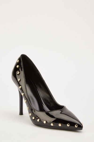 PVC Studded Court High Heels