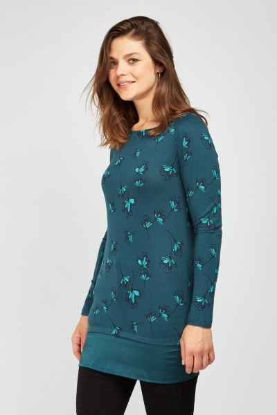 Printed Sateen Hem Trim Top