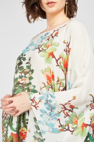 Botanical Print Kaftan Top