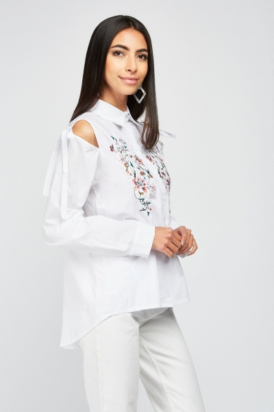 Embroidered Cut Out Sleeve Shirt