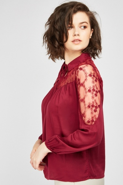 Embroidered Organza Insert Blouse