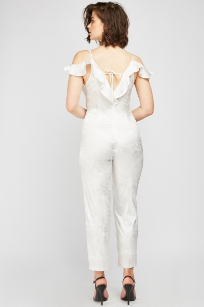 Ruffle Trim Feather Printed Jumpsuit