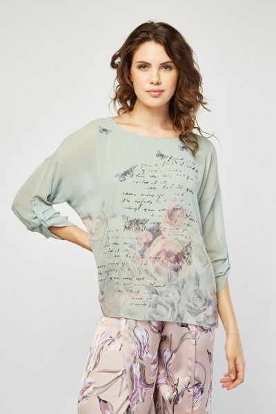 Encrusted Sheer Printed Blouse