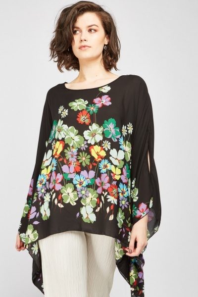 Flower Print Asymmetric Top