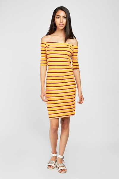 Striped Jersey Bodycon Dress