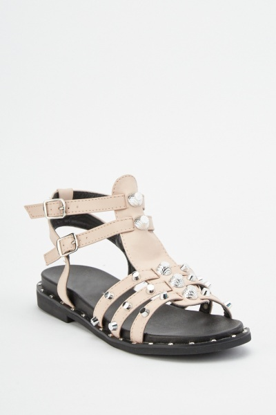 Double Buckle Studded Sandals