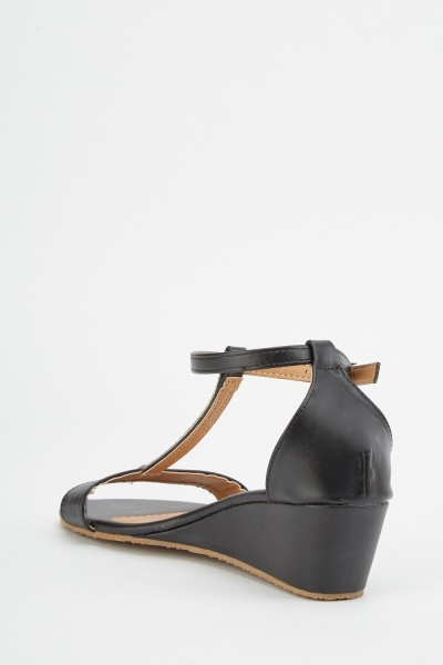 Encrusted T-Strap Wedge Sandals