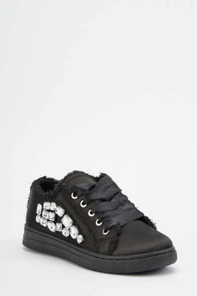 Gem Trim Lace Up Sneakers