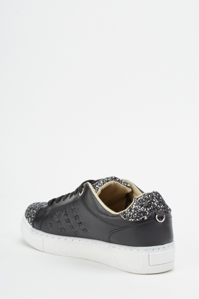 Glittered Trim Lace Up Trainers