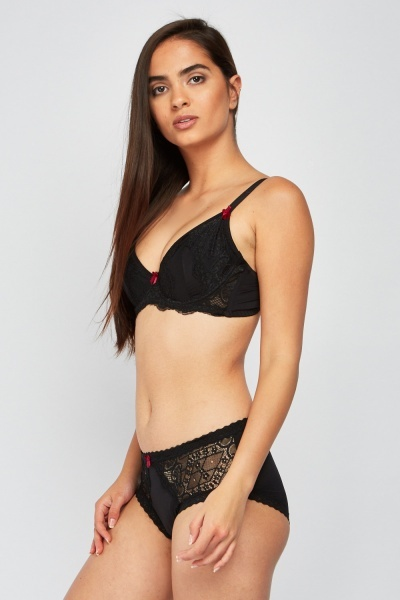 Lace Underwire Bra And Brief Set