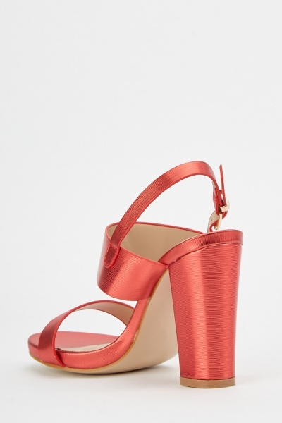 Metallic Textured Heeled Sandals