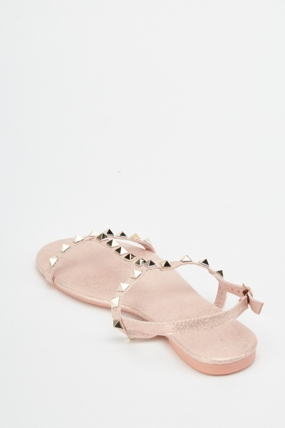 Studded Suedette Flat Sandals