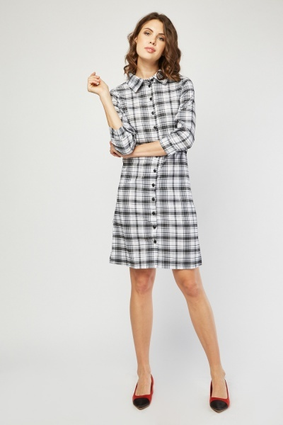 Long Sleeve Checked Shirt Dress