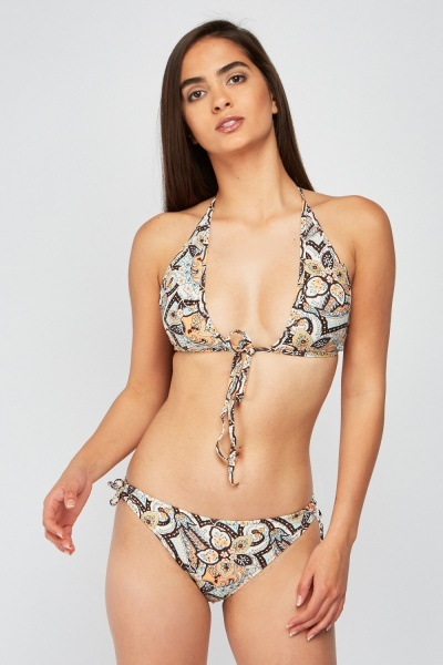 Retro Mix Print Bikini Set